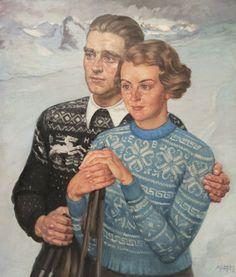 """Albert Janesch """"Porträt zur Erinnerung an den Skiurlaub"""", Um 1933."""