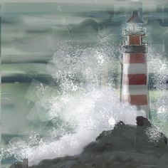 Lighthouse in the Storm, mixed media - février 2020 Lighthouse, Mixed Media, Canvases, Paintings, Dibujo, Bell Rock Lighthouse, Light House, Mixed Media Art, Lighthouses