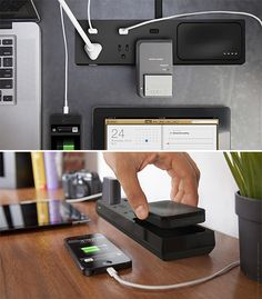 Pickup Power - With a clean, uncluttered design, Pickup Power is a portable powerstrip with 3 AC outlets, Surge protection, and it stores backup power in your choice of a 4000 or 6000mAH battery, more than enough to charge up all your devices. | werd.com