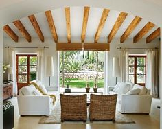 majorcan-old-house living room, exposed beams Living Room Interior, Home Living Room, Living Room Designs, Living Room Decor, Living Spaces, Living Area, Cottage Living, Cozy Living, Country Living