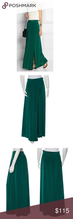 """- TIBI - Pleated Washed Silk Maxi Skirt Gorgeous forest green pleated maxi skirt with side slit. Purchased from The RealReal, worn once. Comes with The RealReal dust bag. Excellent pre-loved condition, no flaws. True to size. Approx. Measurements  Waist: 28"""" Hip: 34"""" Length: 41"""" 🛍Bundle & Save 20% on 2+ items! 🙅🏼No trades / selling off of Posh.  ✨Offers always welcome!✨ Tibi Skirts Maxi"""