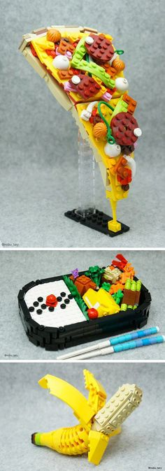 Japanese Lego Master Builds Delicious-Looking Creations From Blocks (cake making delicious food) Lego Design, Book Design, Legos, Lego Pizza, Bolo Lego, Lego Hacks, Choses Cool, Lego Food, Lego Creationary