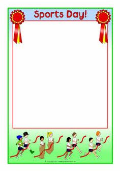 Sports Day page borders - SparkleBox Sports Day Invitation, Invitation Cards, Event Invitations, Borders For Paper, Borders And Frames, Sports Day Border, Pretty Writing, Kids Background, Page Borders