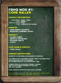 FBHQ WOD #7: Core Killer. FitBodyHQ.com for the printable version and exercise videos.