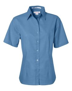 Light Blue Ladies Short Sleeve Oxford Shirt From FeatherLite - 5231