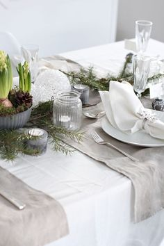 Decoración Navideña para la mesa: mesa nórdica completa