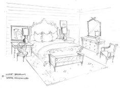 bedroom interior sketch...desk next to bed ... May work
