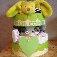"""Gâteau de couches mixte """"petit coeur"""""""