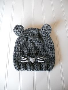 Pipsqueak - Baby Mouse Hat Hand-Knit in Grey with Tail - Girl or Boy on Etsy, $20.00