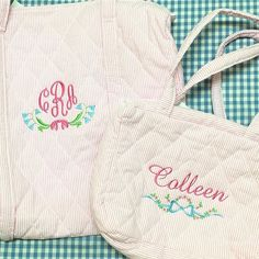 The wee Colleen is ready wherever life takes her! 👶🏼✈️💒 Shown with Belle and Cordelia motifs.  #sewsewswell #babybag #babygear #embroidery #monogrameverything #babystuff