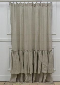 Brussels Double Ruffle Linen Shower Curtain in Linen Voile- Full Bloom Cottage