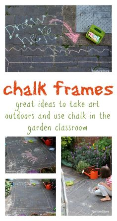 Take kids art outdoors with chalk frames :: outdoor art :: outdoor literacy