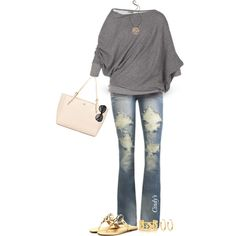 Yes for the top and the worn out pair of jeans. I'll leave the pink bag and the gold sandals ..