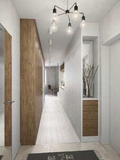don't waste hallways -- turn them into storage walls. aménager un studio : petit appartement design Small Apartment Decorating, Interior Decorating, Casas En Atlanta, Interior Architecture, Interior And Exterior, White Hallway, Mini Loft, Plafond Design, Appartement Design