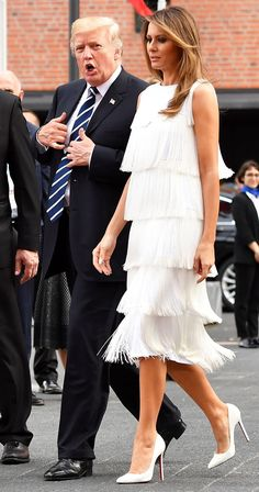 melania trump, donald trump, fringe, white dress, michael kors, christian louboutin, g20 summit, Vladimir Putin