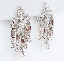 Tier Shapes Rectangles And Circles New Nolan Miller Chandelier Dangle Drop Earrings Clear White Crystals