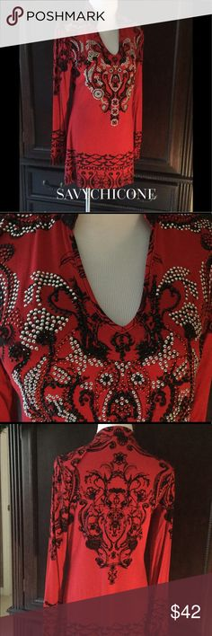 NWOT GORGEOUS V CHRISTINA BEADED TOP This fabulous NWOT top is beautifully beaded with silver, red and black beads and is further embellished with printed lace.  All year round wearability! V Christina Tops