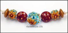 $32  Sunflower Set - Handmade Lampwork Glass Beads BASTILLE BLEU - SRA Brown Polkadots Florals Turquoise Golden Yellow Lentils