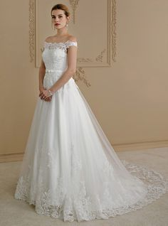 Ball Gown Off Shoulder Court Train Lace / Tulle Cap Sleeve Country / Glamorous See-Through / Plus Size / Backless Made-To-Measure Wedding Dresses with Bow(s) / Buttons / Sashes / Ribbons 2020 Event Dresses, Bridal Dresses, Wedding Gowns, Tulle Wedding, Style Royal, Cheap Wedding Dresses Online, Estilo Real, Business Dresses, Dress With Bow