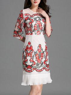 5e55299a12017 Shop Midi Dresses - Multicolor 3 4 Sleeve Embroidered Midi Dress online.  Discover unique