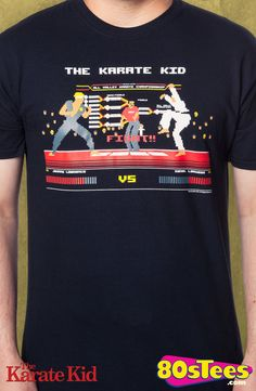 Karate Kid Video Game T-Shirt: Karate Kid Mens T-Shirt Video Game Geeks: This popular video game is artfully illustrated and designed with the film in mind and a must have to your men's fashion collection.