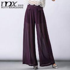 MNX Brand New Fashinable Chiffon Loose Pants Transparent High Waisted Slim Flare Trousers Full Length Pantalon Femme060116 - http://www.aliexpress.com/item/MNX-Brand-New-Fashinable-Chiffon-Loose-Pants-Transparent-High-Waisted-Slim-Flare-Trousers-Full-Length-Pantalon-Femme-060116/32357344449.html