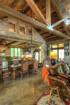 The Trails - Burleson Design Group Cabin Homes, Log Homes, Hill Country Homes, Barn Living, Living Room, Barn House Plans, Pole Barn Homes, Design Case, Design Design