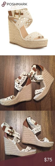 Steve Madden Magestee Wedge White wedge with crochet straps. They are in good condition only worn a couple of times. Steve Madden Shoes Wedges