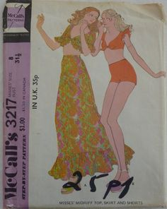 Vintage Sewing Pattern McCall's 3217 - Young Women's Midriff Top, Skirt and Shorts - Size 8 - UNCUT