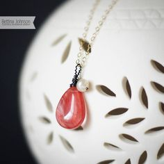 Cherry Quartz Teardrop and Freshwater Pearl Gold Necklace