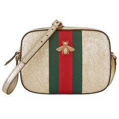 Gucci Metallic Leather Camera Bag ($980) ❤ liked on Polyvore featuring bags, handbags, shoulder bags, leather crossbody, leather purse, leather cross body purse, gucci handbags and gucci crossbody
