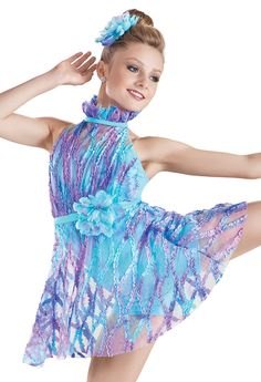 MS Weissman™ | Tie-Dye Ruffle Mesh Dress| if you take away the neck thing I would love this more