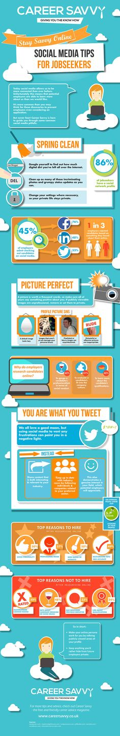 Social Media Tips for Job Seekers. Great tips for anyone with or without a job!