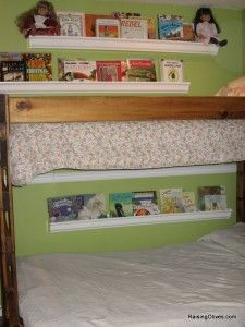 Rain gutter shelving for children's books! Put them in the hallway or in bedrooms! Love this idea!