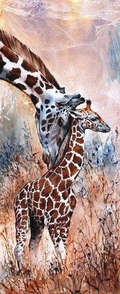This is the most beautiful Giraffe Diamond Painting you have ever seen. You can feel that having a touch of our mom's hand our head feels so great. This painting is expressing the same feeling. Giraffe Art, Cute Giraffe, African Animals, African Art, Animal Paintings, Animal Drawings, Watercolor Animals, Watercolor Paintings, Watercolours