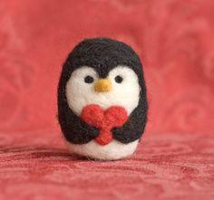 Needle Felted Penguin - Valentine Heart. $19.00, via Etsy.