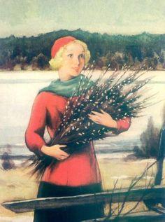 Vintage Winter - Rudolf Koivu - Also see N. Vintage Christmas Cards, Christmas Images, Vintage Cards, Inspiration Art, Vintage Winter, 6 Photos, Pictures, Paintings I Love, Vintage Prints