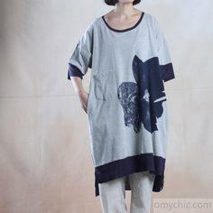 Gray oversize cotton maxi dress summer loose fit sundress caftan
