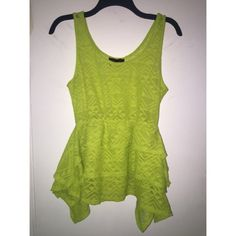 BLACK FRIDAY Material Girl Green Top Bright green peplum top by Material Girl. Perfect for spring time. Semi sheer with Aztec inspired design. Fits a size large comfortably in excellent condition 🔸BLACK FRIDAY deal. Original price reflects the price I listed it as and the sale price is the weekend discount.  Happy shopping 👙👜👓🕶👒👠 Material Girl Tops Blouses