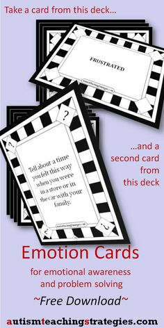 This free download gives you two decks of cards you use together to help teach social - emotional skills in class, counseling or speech  - repinned by @PediaStaff – Please Visit  ht.ly/63sNt for all our pediatric therapy pins