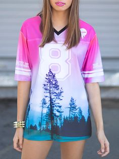 The Aurora Skye print has come in several forms over the years, and here it is with perfect pink and blue hues. This piece is straight-up tomboy chic, like you just stole it from the quarterback's closet. The Touchdown is unisex, so blokes - ge Swag Style, My Style, Tomboy Chic, Cool Outfits, Fashion Outfits, Black Milk Clothing, Perfect Pink, My Black, Clothing Items