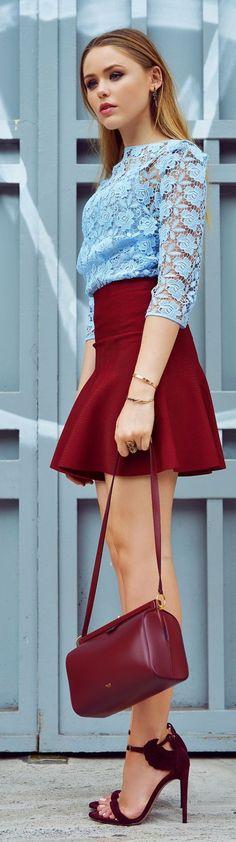 Baby blue lace blouse, burgundy skirt, shoulder bag & amazing sandals