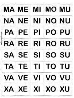 Silabas móveis para formação de palavras