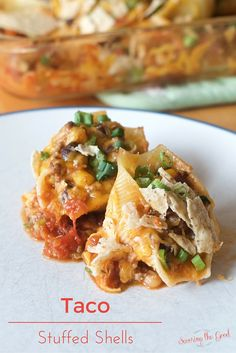 Taco Stuffed Shells Recipe from savoringthegood.com (there is a video tutorial too!)