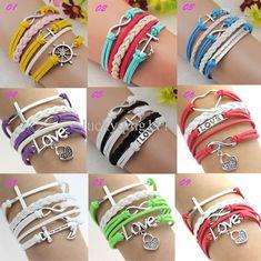 Wholesale Leather Bracelet - Buy Infinity Rudder Anchor Love Heart Charms Infinity Leather Bracelet Wrap Bracelet, $1.85   DHgate