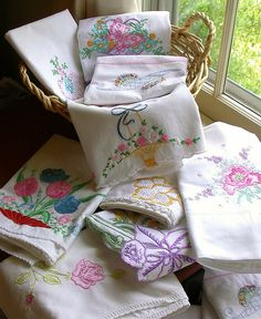 feminine embroidered vintage linens