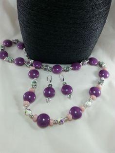 Parure sautoir exceptionnelle palets porcelaine mauve,3 petites perles porcelaine à fleurs, perles cubes gris fleuris, perles : Parure par creationsannaprague