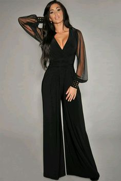 8a94a3aeb7f9 Chiffon jumpsuit Beautiful black jumpsuit with sheer sleeves and  embellished cuffs