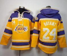 4030ecd81 Los Angeles Lakers  24 Kobe Bryant Gold Sawyer Hooded Sweatshirt NBA Hoodie