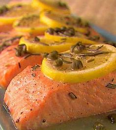 Salmon is high in protein and one of the best sources of healthy fats around. This recipe delivers big flavor with the lemon, capers, wine and rosemary. Rosemary Recipes, Lemon Recipes, Low Carb Recipes, Cooking Recipes, Healthy Recipes, Capers Recipes, Healthy Meals, Best Salmon Recipe, Easy Salmon Recipes